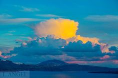 Santorini; Greece; Aegean Sea; Oia town; blue church; sunset; cloud; blue Santorini Greece, Clouds, Sea, Sunset, Blue, Outdoor, Sunsets, Outdoors, Ocean
