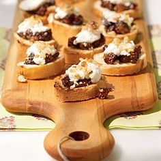 Prepare the fig jam for this savory-meets-sweet appetizer up to three days in advance, and store in the refrigerator. Bring to room temperature, and assemble bruschetta just before serving. For smaller groups, use half the amount of bread. Leftover jam is great on toast at breakfast.
