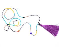 Purple Tassel Necklace Long Small Bead Necklace Seed Beaded
