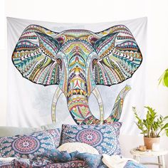 Hippie Bohemian Elephant Hippy Home Decor Tapestry – ibeqino Moon Tapestry, Elephant Tapestry, Tapestry Bedroom, Mandala Tapestry, Elephant Print, Hanging Art, Tapestry Wall Hanging, Elephant Decoration, Elephant Silhouette