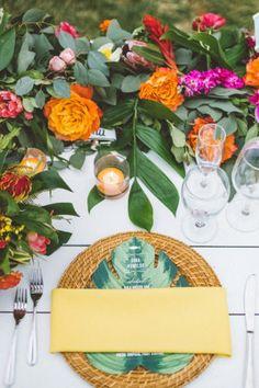 Bright + Colorful Destination Wedding in Maui · Ruffled Tropical Wedding Centerpieces, Wedding Decorations, Table Decorations, Centerpiece Ideas, Destination Wedding Invitations, Wedding Planning, Destination Weddings, Wedding Ideas, Wedding Inspiration