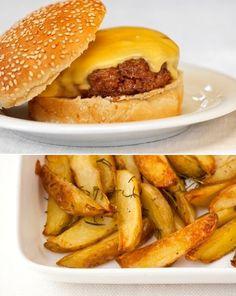 Hambúrguer com batata frita saudável