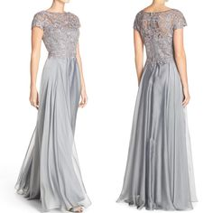 MACloth Cap Sleeves Lace Chiffon Long Evening Gown Silver Mother of the Brides Dress