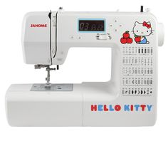 Janome Hello Kitty 18750  Don't let the cute graphics on this machine fool you: This is a full scale sewing machine, ready to handle all of your sewing tasks.