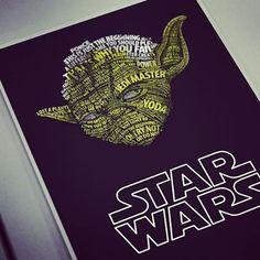 Linda ilustração tipográfica de Vlad Poliakov! #yoda #starwars #ilustração #tipografia #designerd