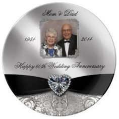 "60th Wedding Anniversary Photo Porcelain Plate (<em data-recalc-dims=""1"">$50.95</em>)"