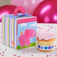 Pink Elephants Cupcake Boxes, 77682 via Birthday Express