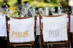 Ruffled® | See ads - Mr and Mrs burlap chair signs - Decor