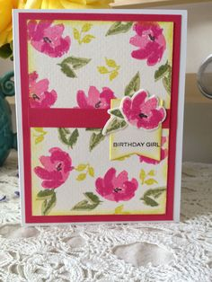 Watercolored Anemones stamp set by W-Plus 9.  Stamped onto watercolor paper using dye inks by Hero Arts and Memento.  A Papertrey Ink banner die was used along with one of their sentiments.
