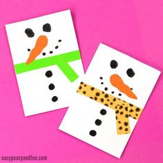 20 Simple Christmas Cards Kids Can Make - The Joy of Sharing Simple Christmas Cards, Paper Christmas Ornaments, Christmas Card Crafts, Homemade Christmas Cards, Christmas Cards To Make, Christmas Snowman, Kids Christmas, Homemade Cards, Handmade Christmas