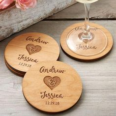 Rustic Wedding Party Favors Personalized Coasters These Rustic Engraved Wood Coasters are gorgeous! These personalized coasters can be engraved with any 2 names and date - they make a great wedding gift idea or wedding favor idea! Wedding Souvenirs For Guests, Creative Wedding Favors, Inexpensive Wedding Favors, Cheap Favors, Great Wedding Gifts, Beach Wedding Favors, Bridal Shower Favors, Chic Wedding, Trendy Wedding