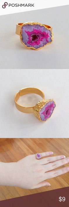 "Genuine geode druzy gold-plated ring Stunning!  A genuine druzy geode in brilliant colors is perched atop a shiny gold-plated ring!  A striking design and a unique interpretation of the classic solitaire!  About a size 7.  Nickel and lead free.  PRICE IS FIRM and extremely reasonable, but click ""add to bundle"" to save 10% on your purchase of 2+ items! Jewelry Rings"