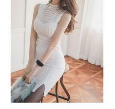 Aurora Mock-Neck Sleeveless Dress   YESSTYLE