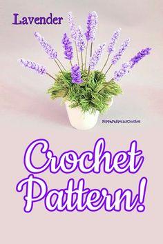 Art And Craft Flowers, Clay Flowers, Flower Crafts, Paper Flowers, Crochet Flower Patterns, Crochet Flowers, Free Crochet, Knit Crochet, Lavender Leaves