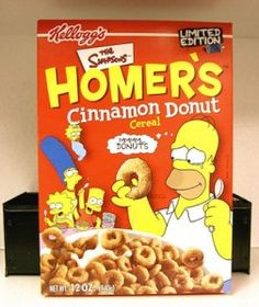 All about Homer's Cinnamon Donut Cereal from Kellogg's - pictures and information including commercials and cereal boxes if available. You can vote for Homer's Cinnamon Donut or leave a comment. New Cereal, Kids Cereal, Cereal Boxes, Cereal Milk, Discontinued Food, Types Of Cereal, Oreo, Cornflakes, Cinnamon Donuts