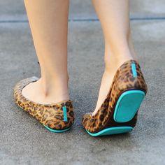The turquoise detail makes this fun shoe even more fun. #FashionInspiration #Flats #Cheetah