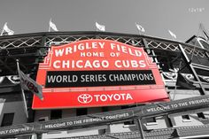 Chicago Cubs print, black and white photo with red sign, Wrigley Field picture; PAPER print only with fast shipping. Chicago Wrigley Field sign photo print after Cubs won their title. Black and white art photography, small to large wall décor, a gift for a baseball fan. Available in sizes from 5x7 to 30x45 inches on a premium quality photo paper. Choose a desired paper size from the SELECT OPTIONS menu (located just above the Add to Cart button). Images above show prints in the following...