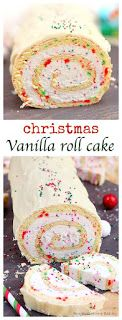 A Christmas Vanilla Roll Cake. A simple vanilla roll cake with red and green dots and spirals of creamy buttercream is the perfect dessert for Christmas parties. Mini Desserts, Just Desserts, Easter Desserts, Vanilla Desserts, German Desserts, Japanese Desserts, Light Desserts, Baking Desserts, Health Desserts