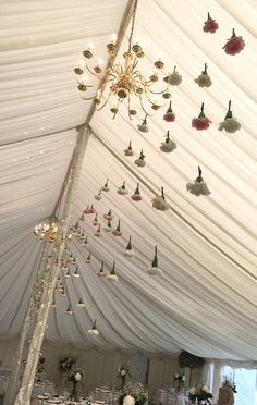 Curtain of Carnation between marque poles September Wedding Flowers, Seasonal Flowers, Carnations, Chandelier, Ceiling Lights, Curtains, Table Decorations, Lighting, Home Decor