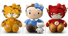 Hello Kitty as Garfield, Tintin with Snowy, and the Flash