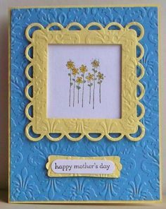 handmade card: framed flowers by tessaduck ... sweet flowers in scalloped frame ... yellow, blue and white ...
