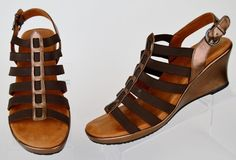 Gentle Souls by Kenneth Cole womens bronze leather elastic strappy wedge 10 M  #KennethCole #Strappy