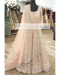 """It all starts with a vision and turns into a work of art"" An exclusive look at this gorgeous soft pink reception lacha designed by… Pakistani Wedding Dresses, Pakistani Dress Design, Pakistani Outfits, Indian Outfits, Nikkah Dress, Wedding Reception Outfit, Bollywood Dress, Desi Clothes, Indian Clothes"