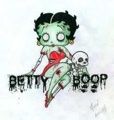 Betty Boop Zombie by tokyo-misfit on DeviantArt Imagenes Betty Boop, Betty Boop Tattoos, Betty Boop Halloween, Zombie Tattoos, Animated Cartoon Characters, Betty Boop Pictures, Ange Demon, Old Cartoons, Monster