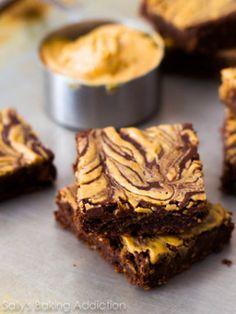 Skinny Peanut Butter Swirl Brownies Recipe by Sally's Baking Addiction | Maypurr