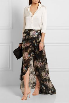 PREEN BY THORNTON BREGAZZI Adria floral-print devoré-chiffon maxi skirt $1,350 EXCLUSIVE AT NET-A-PORTER.COM. Printed with beautiful garden florals, Preen by Thornton Bregazzi's maxi skirt has been designed to mark the brand's 20th anniversary. Cut from silk-blend devoré-chiffon and lined to your mid-thigh for the perfect amount of coverage, this piece has a wrap-around tie to enhance its breezy, weightless feel. Style it how the brand intended with the matching top.
