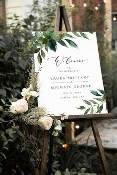 Wedding Welcome Signs, Wedding Signs, Wedding Ideas, Botanical Wedding Theme, Nature Inspired Wedding, Sign Templates, Sage Green Wedding, Wedding Entrance, Wedding Posters
