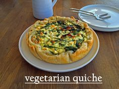 Welcome to our fourth weekend recipe! We chose a vegetarian quiche this week and hope you'll like it. Quiche is just such a versatile d. Vegetarian Quiche, Veggie Quiche, Vegetable Pizza, Weekend Recipe, Recipe For 4, Veggies, Coffee, Breakfast, Creative