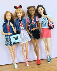 Disney loving dolls. #barbie #barbiemadetomove #madetomovebarbie #barbiefashionista #barbiegram #barbiestyle #dollphotogallery #bestbarbiephoto #disneymania #disneybound #mickeymouse #minniemouse #disneystyle #minniestyle
