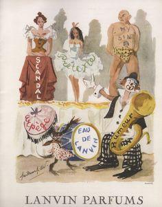 vintage perfume ad for Lanvin perfumes: Scandale, Pretexte, My Sin, Rumeur, Eau de Lanvin, & Arpege