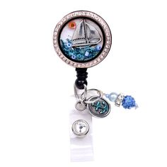 New Sailboat Charm Locket Retractable ID Badge Holder Now @ SIZZLE CITY Shop - Come Visit Us Today!  Visit Here: http://sizzlecity.com/product/sailboat-charm-locket-retractable-id-badge-holder/