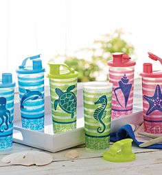 Seashore Tumblers set of 6 for $35 Nothing goes better with flip-flops than flip-tops! www.my.Tupperware.com/cynnabun