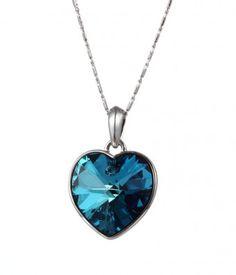 Bezel Set Heart of the Ocean Blue Crystal Necklace - #swarovski, #swarovskinecklace, #heartshapednecklace,heart shaped pendant,titanic, #titanic necklace, #heartoftheocean,heart of the ocean necklace,fashion jewelry, costume jewelry, love, #swarovski crystal necklace