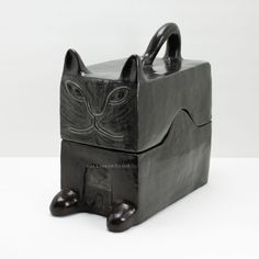 Mom Black Cat Cookie Jar Art Object Box Pottery Sculpture Mario Salazar Kitten