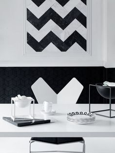 Dining room | White chair | Black and white | Monochrome | Graphic | Pattern | Livingetc