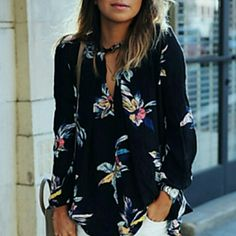 Flower top Women's Europe Popular Print V Neck Long Sleeve Loose Blouse Shirt? Boutique  Tops Blouses