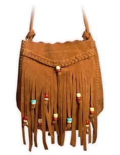 Suede fringe purse with beads