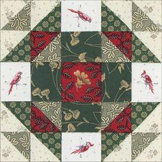 Christmas Star Quilt Block using Civil War Fabrics