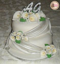 25th Wedding Anniversary Cake with Gumpaste Calla Lily - Torta Nozze d'Argento