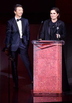 Valentino's Creative Directors Maria Grazia Chiuri and Pierpaolo Piccioli winners of the coveted CFDA 2015 International Award.