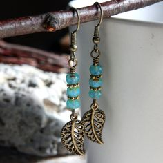 Turquoise Czech Glass Bead Earrings  A882 by carolinascreations, $6.00