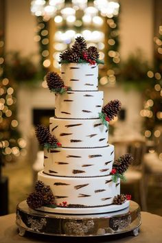 10 Winter Wedding Cakes That Creatively Ice Out Their Competition | A woodland wedding cake with a birch tree inspired frosting design, red berries and pinecone decorations.