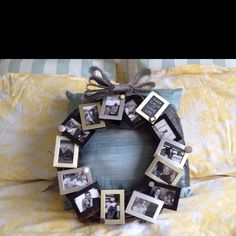 Picture frame wreath/ Mom's Day gift project:) Picture Frame Wreath, Family Picture Frames, Christmas Frames, Diy Christmas Gifts, Xmas, Wreath Crafts, Wreath Ideas, Diy Crafts, Grandparent Gifts