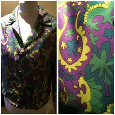 Vintage 50s/60s Bright Green & Purple Silky Jacket Top Marie Moore Sz 10 Indie