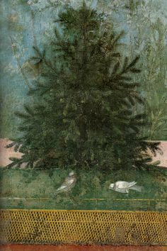 Antique Depictions of Natural Scenery Roman fresco (detail) from the Garden Room of the Casa del Bracciale d'Oro (VI in Pompeii, 50 BCE - Ancient Pompeii, Pompeii And Herculaneum, Ancient Art, Pompeii Italy, Art Romain, Décor Antique, Roman Art, Natural Scenery, Mural Painting