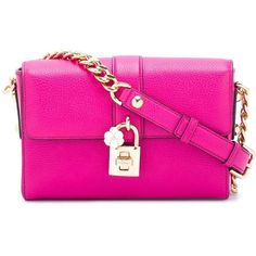 Dolce & Gabbana Dolce Shoulder Bag (126.530 RUB) ❤ liked on Polyvore featuring bags, handbags, shoulder bags, chain purse, leather handbags, dolce gabbana handbags, pink purse and leather purses